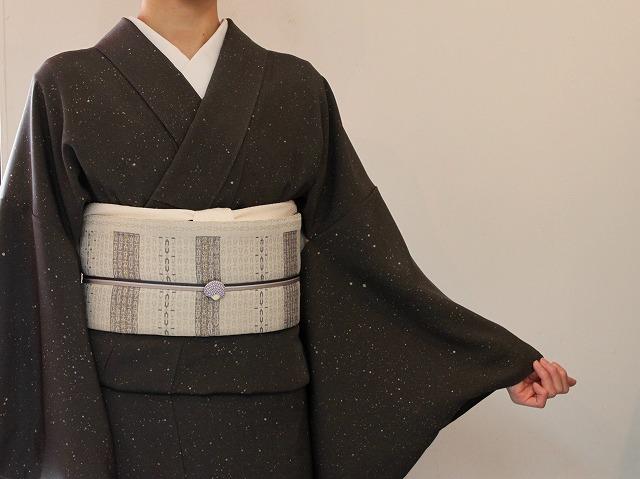 着物コーディネート 蝋たたき小紋名古屋帯