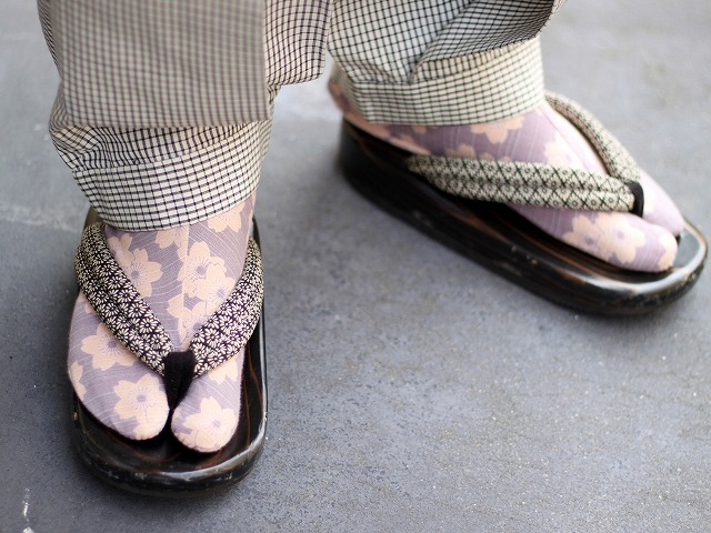 男着物コーディネート 柄足袋